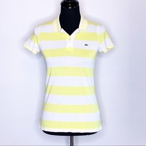 Lacoste yellow and white striped polo 36